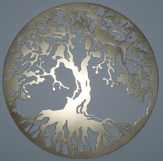 Tree Of Life Large Wall Decor Metal Art Golden Look By Tibi291