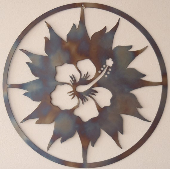 hibiscus and sun metal art round wall decor - Sun Wall Decor