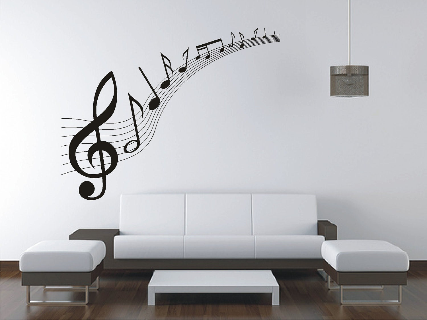 Large music music notes wall sticker vinyl decal wall for Custom wall photo mural