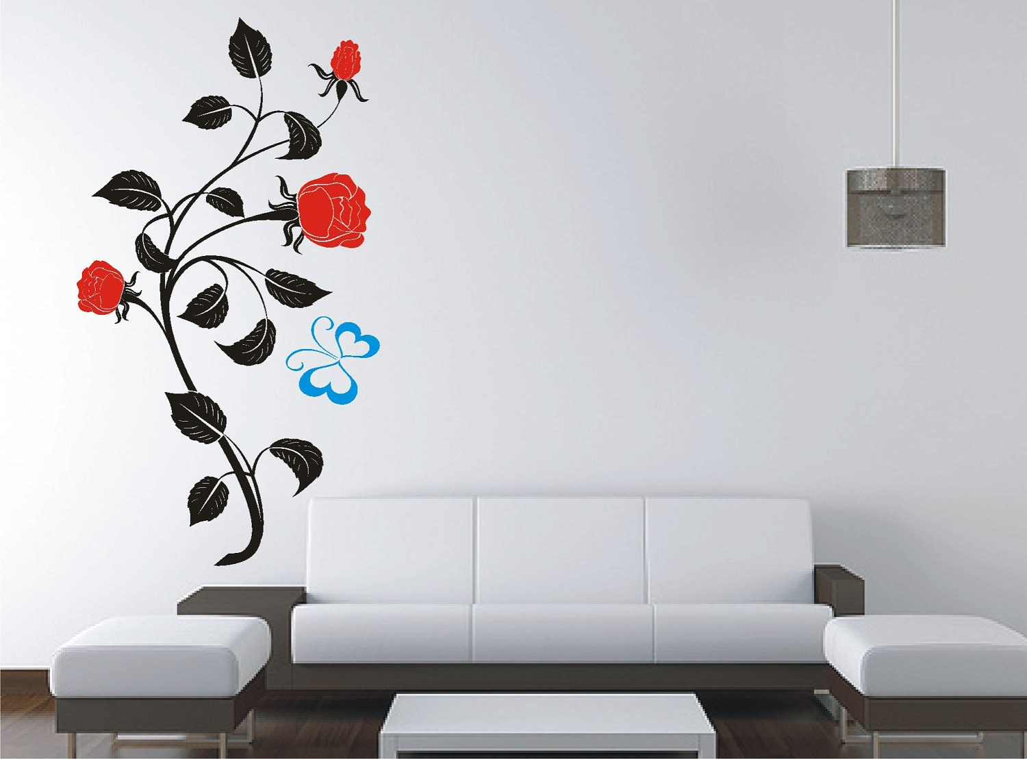 Flower Roses and Butterfly Removable Wall Sticker Vinyl by Tibi291