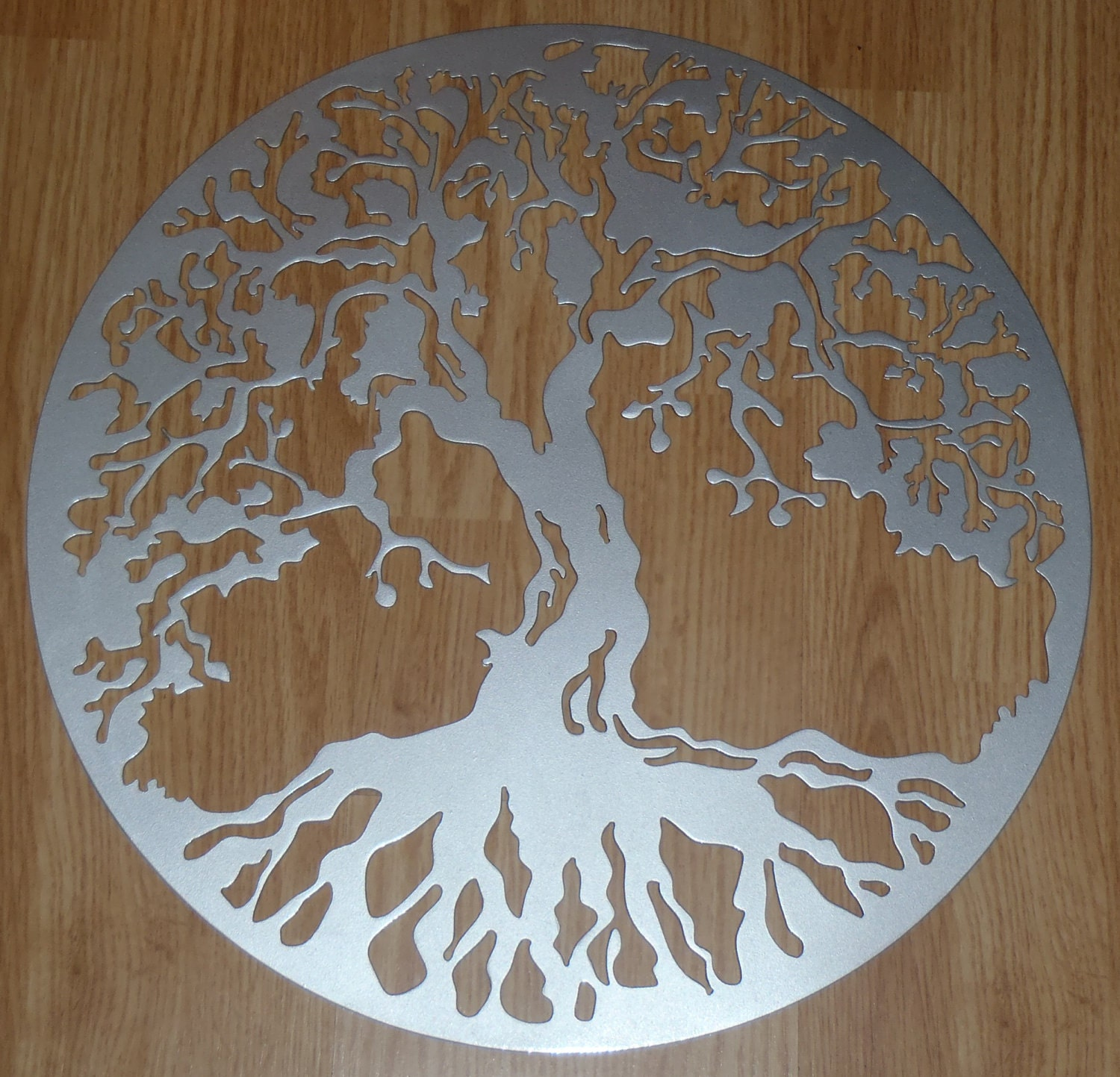 Tree of life wall decor metal art silver look for Silver wall art