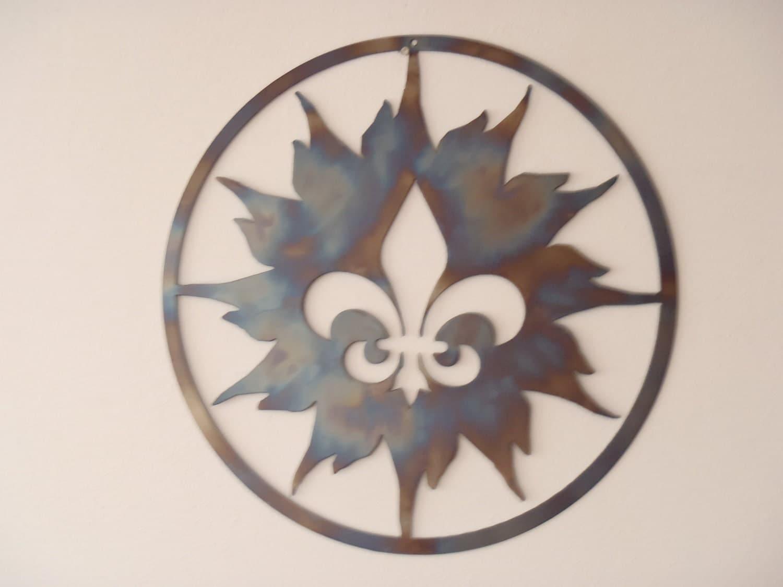 Fleur de lis and sun metal art round wall decor for Fleur de lis wall art