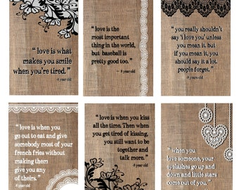 Love Is... Children's Definition of Love Set of Six 8x10 Prints, Burlap and Lace Background