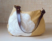 Sunny Vintage Doily Purse with Upcycled Leather Belt Strap