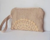 Burlap Vintage Tatted Doily Wristlet with Linen Strap/ Ready to Ship
