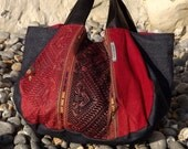 Denim Tote Bag with Thai Embroidery