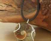 Large Brown Wire Wrap Ammonite Necklace