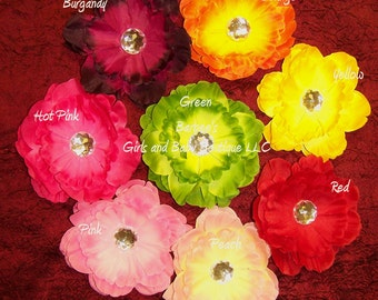 2 - Crystal Peony Flower Hair Clips - You Pick colors -