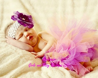 Multi-Color Tutu Skirt and Matching Headband. Great for Photo Prop, Birthday.