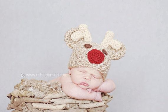 Crochet Baby Hat, Crochet Rudolph Hat, Baby Rudolph Hat, Baby Reindeer Hat, Animal Hat, Baby Girl Hat, Newborn Baby Hat, Newborn Prop