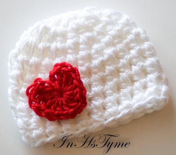 Crochet Valentine Hat : Crochet Baby Hat Baby Girl Hat Newborn Beanie Baby by InHsTyme