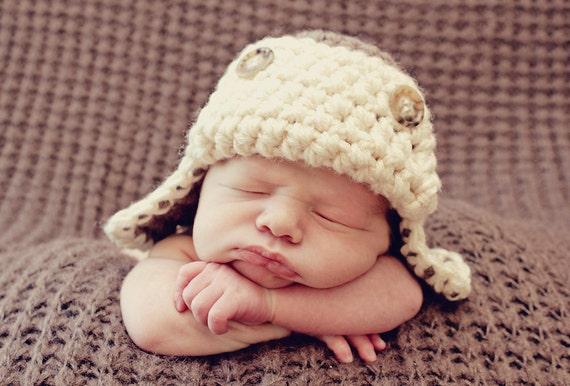 Crochet Newborn Aviator Hat Pattern : PDF CROCHET PATTERN Aviator Hat Baby Boy Hat Crochet by ...