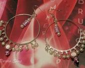 Pinkish beaded dangle earrings, FREE SHIPPING