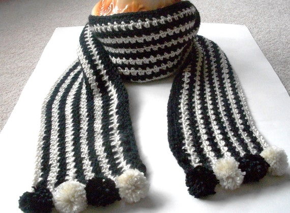 Scarf Houndstooth Like Pattern Crocheted in Black and White Extra Long with Pom Poms