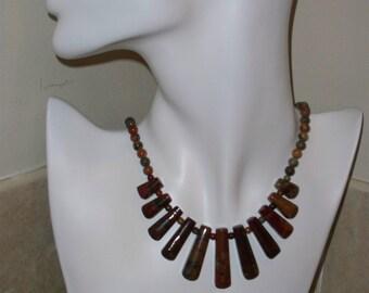 Picasso Jasper Stone Bead Pendant Necklace (item 4411)