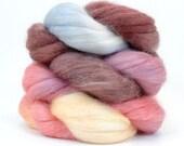 Baby Alpaca / Silk (70/30) Roving - WINTER MORN - Hand Painted Spinning Fiber- 2 oz