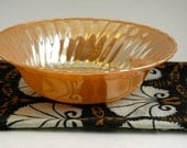 sale - fire king peach luster shell serving bowl