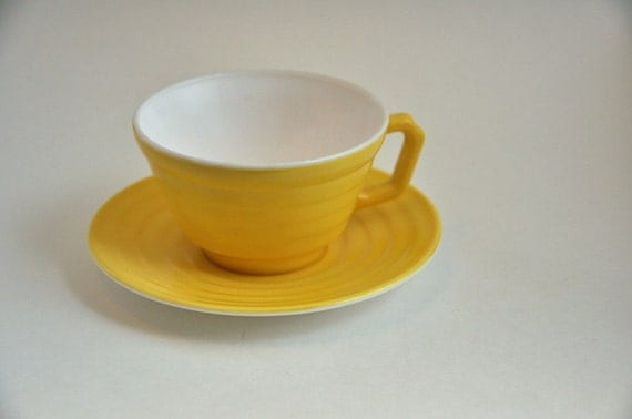 1940s glass teacup and saucer  - yellow / white - 15% discount for 3 or more