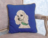 Vintage 50's / 60's Blue Needlepoint Poodle Pillow with Velvet Back