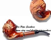 """Hand Carved Smoking Pipe. Tobacco Pipes - Wooden Pipes - Hand Carved Tobacco Wood Pipes """"Dragon New"""" & GIFT Pouch /BEST PRICE"""