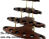 Hand Carved Wood Pipe Stand - Rack Hold Holder for Tobacco Smoking Pipe Natural Exclusive Ash-Tree for 15  Tobacco Smoking Pipes