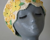 Oatmeal Scalloped Edge Hat with Crocheted Antique Flower Applique