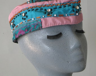 Raspberry and Turquoise Nehru Style Hat