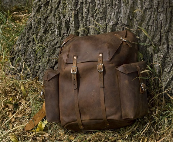 Items similar to Handmade Leather Backpack on Etsy
