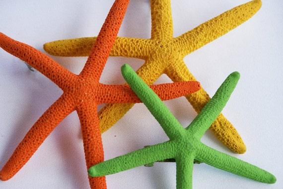 Starfish Hair Pins SALE - Orange, Green, Yellow