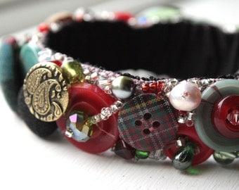 Tartan Bracelet, Vintage Buttons, Size Large
