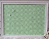 Magnet Board Bulletin Board - Handmade Wood Frame - Cottage Magnetic Message Board in Spring Green Designer Fabric
