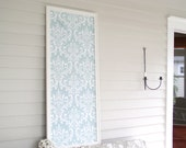 Wedding Seating Chart or Ceremony Reception Board - Magnetic Bulletin for Home or Event - Huge Frame with Robins Egg Blue Damask Fabric