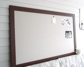 """Huge Designer Magnetic Bulletin Board with our Handmade Wood Frame - 35 x 60"""" Magnetic Memo Message Board in Chocolate Brown and Tan"""