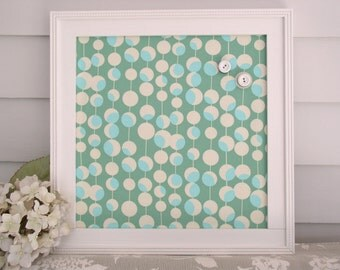 Magnet Board - Magnetic Bulletin Board in Shabby Chic Aqua and Green Amy Butler Fabric with our Handmade Wood Frame - Memo Board