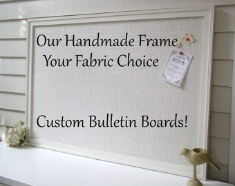 """BULLETIN BOARD - Custom MAGNETIC Framed Magnet Memo Board - Deluxe Size 26.5 x 38.5"""" Handmade Frame and Ivory Burlap Fabric - Message Board"""