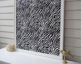 "Elegant Magnetic Bulletin Board with our Handmade Wood Frame - 26.5 x 38.5"" Message Memo Board with Black and White Zebra Print Fabric"