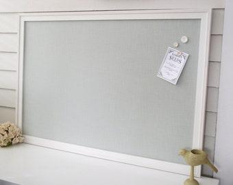 BULLETIN BOARD - MAGNETIC Framed Magnet Memo Board in Silver Spa Blue-Green Fabric - Deluxe Size 26.5 x 38.5 Handmade Frame - Message Board