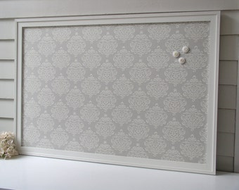MAGNETIC BULLETIN BOARD Framed Memo Board in Dena Designs Taza Ribbon Fabric 26.5 x 38.5 Deluxe Size Handmade Frame and Button Magnets