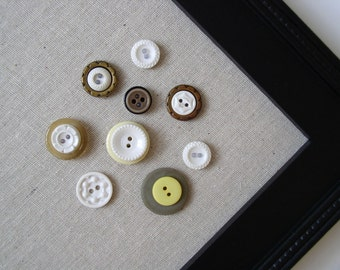 Vintage Style Button Magnets - Yellow Neutral Colors - Set of 8 in Your Choice of Colors - For Magnetic Memo Bulletin Boards Extra STRONG