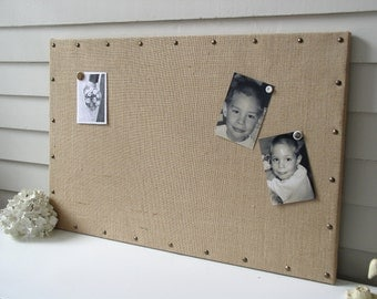 Burlap Memo Board - MAGNETIC Organization Bulletin Board 20.5 x 26.5 inches with Hardwood Construction and Brass Upholstery Nail Head Tacks