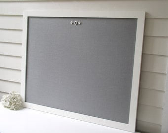 MAGNETIC Bulletin Board with our Handmade Wood Frame Deluxe Size 26.5 x 38.5 and Gray Cotton Fabric Magnet Board - Memo Message Board