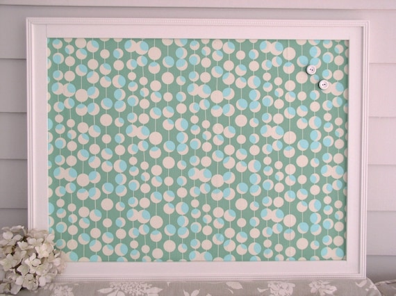 Framed Magnetic Bulletin Board With Designer Fabric In Teal