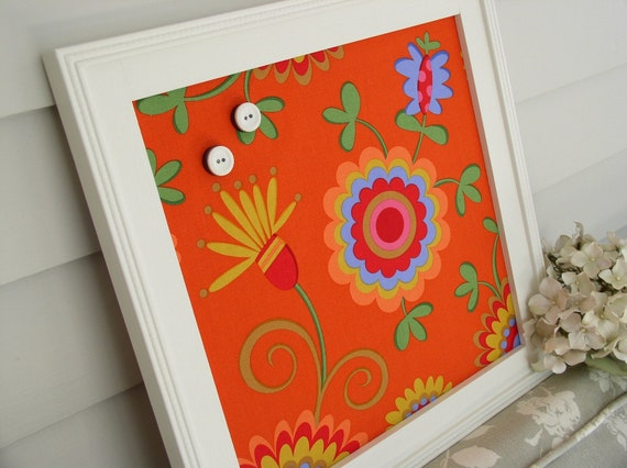 FRAMED WALL DECOR Orange Multicolor Modern Magnet Board with Handmade Frame - Message Bulletin Board with Designer Fabric and Button Magnets