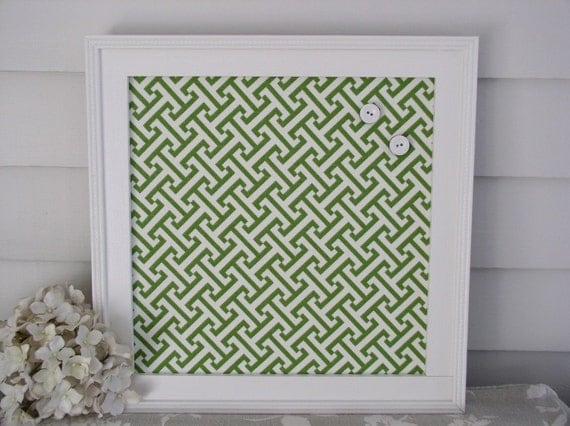 "Bulletin Board Magnet Board - Framed Memo Board 14.5 x 14.5"" in Designer Green and White Fabric with Handmade Wood Frame - Message Board"