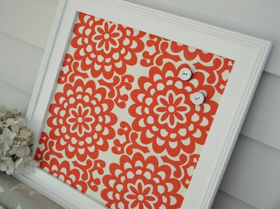 Cottage Magnet Board - Framed Bulletin Board in Red Coral Decorative Floral Fabric with Handmade Wood Frame for Memo or Message