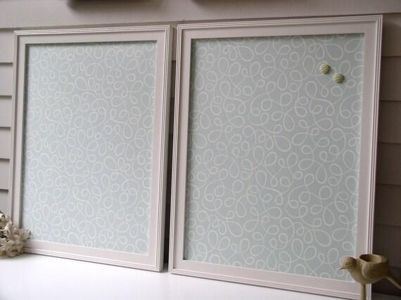 Pair of Matching Cottage Magnet Boards Framed Magnetic Memo Bulletin Boards 20.5 x 26.5 Handmade Wood Frames Designer Robins Egg Blue Fabric