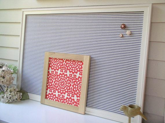 Organization Magnetic Bulletin Board - X-Large Memo Board 26.5 x 38.5 Framed Handmade Frame Navy Blue Ticking Stripe Decorative Fabric