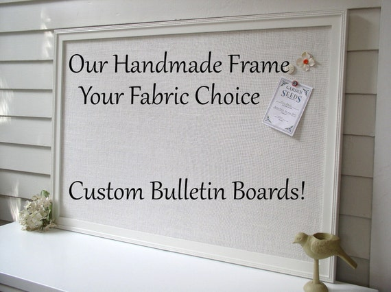 "BULLETIN BOARD - Custom MAGNETIC Framed Magnet Memo Board - Deluxe Size 26.5 x 38.5"" Handmade Frame and Ivory Burlap Fabric - Message Board"