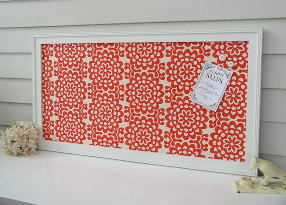 Magnet Board Bulletin Board Message Center - Magnetic Organizer Framed Memo Board 17.5 x 33 Coral Red Floral Amy Butler Fabric - Shabby Chic