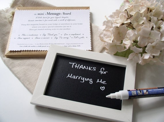 Mini Message Chalkboard for Couples - Refrigerator Sign for Love Notes with Handmade Fabric Gift Bag and Chalk Marker